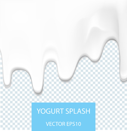 Creamy liquid, yogurt cream, ice cream or milk melting and flowing. White creamy drips. Beautiful background. Template for banner or poster. Realistic vector illustration. Illustration