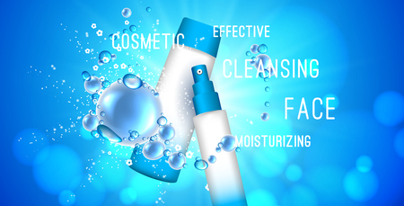 Stock 3d illustration with a set of cosmetics for effective cleansing of the skin, face, moisturizing cosmetics, soap bubbles or water