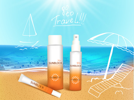Vector illustration. 3d bottles with sun protection cosmetic products on tropic beach with hand draw doodle element. Sunblock cream and tanning oil spray bottle. Template, for magazine or ads, brochure, flyer, banner.