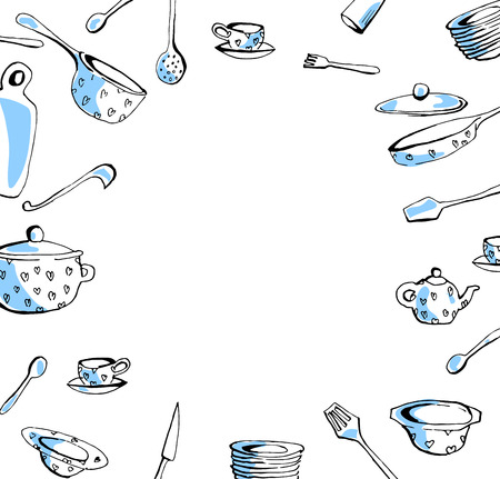 Hand drawn cookware set. Doodle kitchen equipments. Vector illustration.