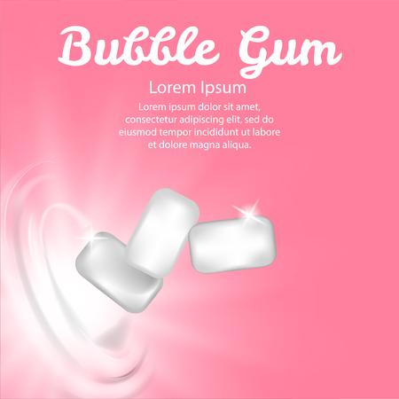 Vector chewing gum on pinck background. Fresh breath bubblegum closeup health gygiene.