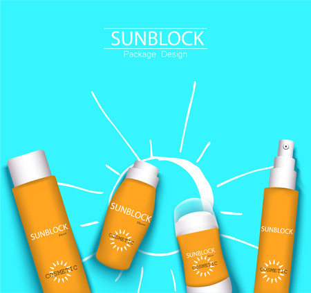 top view sunplock sun protection cream and spray realistic ads 3d cosmetic package with hand draw doodle element. Ilustrace