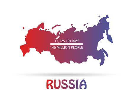 Russian Federation map of Russia. Beautiful gradient map of the largest country.