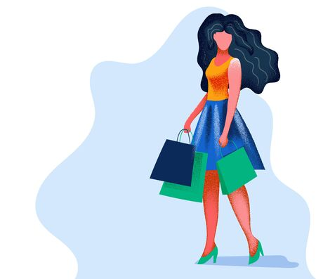 Beautiful girl in a dress, holding shopping bags. Bright veta and grainy texture. Flat illustration. Vektorové ilustrace