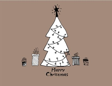 Christmas tree hand drawn vector illustration. Festive pine isolated on taupe background. New Year item doodle drawing. Merry Xmas greeting card, postcard, banner, poster design idea  イラスト・ベクター素材