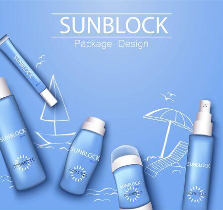 mono-color blue trendy illustration, sun-protection cosmetics packaging design template. Sunscreen and sunblock cream, spray, milk, antiperspirant