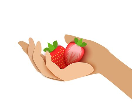 paper cut style, female hand holds strawberries. Иллюстрация