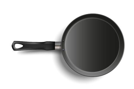 Realistic frying Pan isolated on transparent background. Metallic dishware. Utensil for cooking. Stock realistic vector illustration.