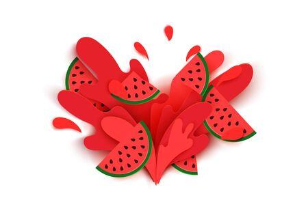 Le jus de pastèque éclabousse et tombe dans un style découpé en papier. Tranches de pastèque et tranches de papier. des ombres douces et des couleurs vives riches. illustration vectorielle stock. Vecteurs