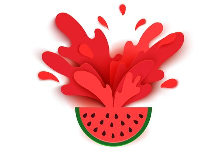 Watermelon juice splashes and drops in a paper cut style. Watermelon slices and paper slices. soft shadows and rich bright colors. stock vector illustration.