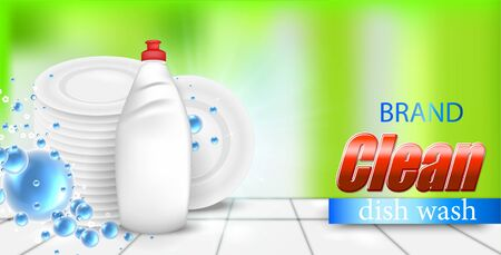 Dishwashing liquid bottle with a clean white plates, on colorful Vector Illustratie