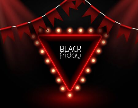 Black friday poster with realistic luminous garland. Big discounts, sales for free 50% vector illustration