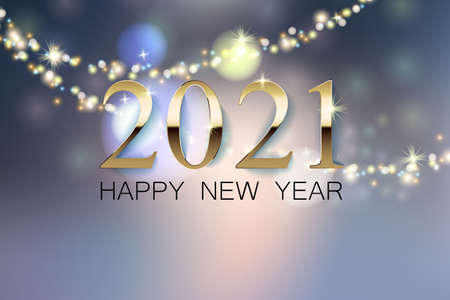 A beautiful New Year greeting banner with a blurred background, a golden inscription 2021 of the happy new year. Glowing garland and bokeh effect. Illusztráció