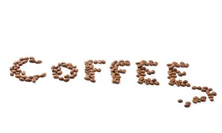 aromatic coffee beans on white background  Stock Photo