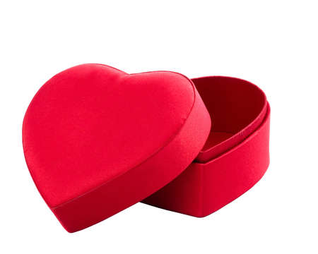red box in heart shape on white with clipping path Stock Photo