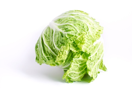 Fresh cabbage isolated on the white background