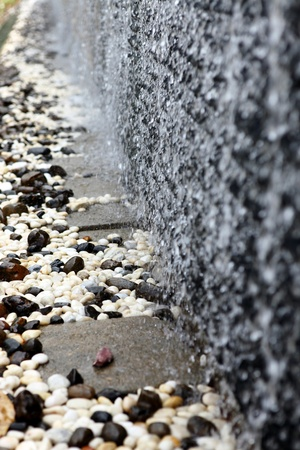 water flowing on the pebbles