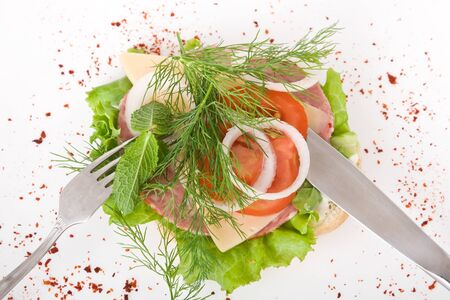 Healthy sandwich on white background Stock Photo