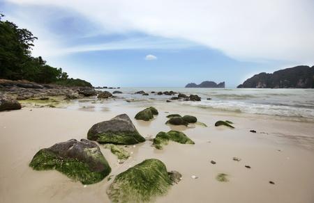 Big stones on the sand tropical beach. Phi-Phi Island