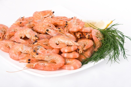 Close-up of boiled shrimps on a plate Stock Photo