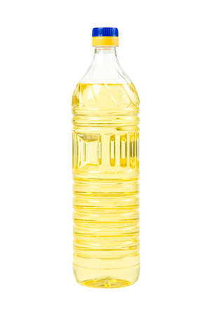 seeds oil in pet bottle isolated on white background photo