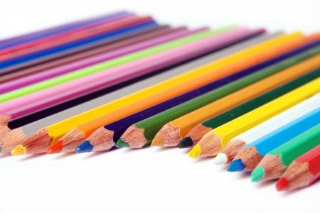 set pencils on white background