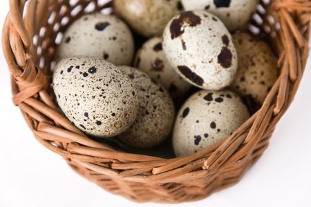 quail eggs in a basket, top view
