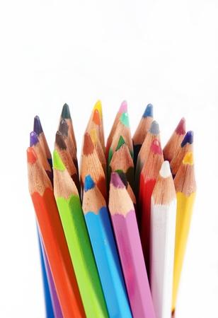 color�: mis crayons sur fond blanc, gros plan