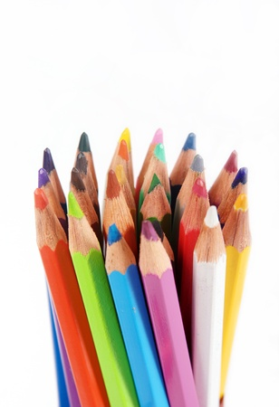 wooden pencil: set pencils on white background, close-up