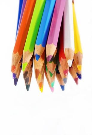 set pencils on white background, close-up