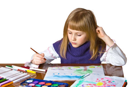 picture of little girl with paints on white background