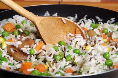 fried rice with vegetables in a skillet Stock Photo - 9898152