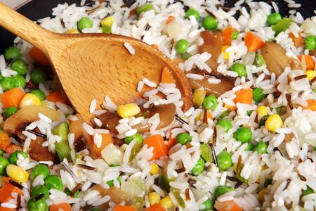 fried rice with vegetables, close-up Stock Photo