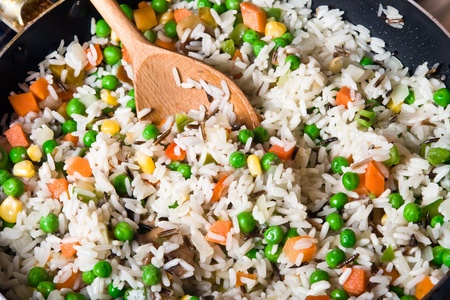 fried rice with vegetables in a skillet, close-up Stock Photo - 9898043