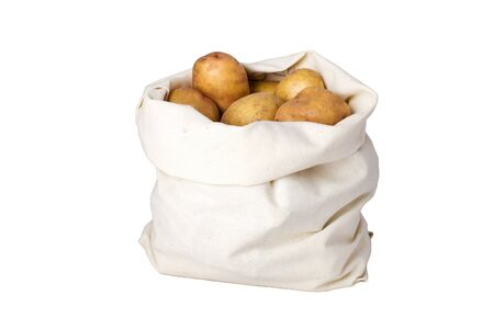 Raw potato in the linseed bag. Clipping path Stock Photo