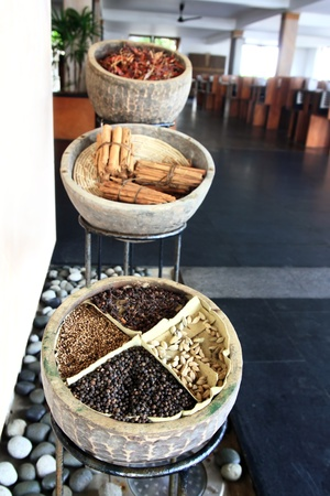 Set of spices for decoration in the restaurant