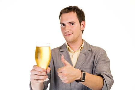 A young man with a beer Stock Photo