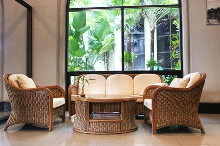cane sofa: rattan furniture in the hotel
