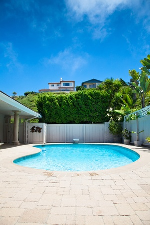 private swimming pool in a house Stock Photo