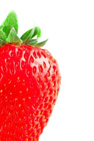 One fresh strawberry on white background, isolated on white