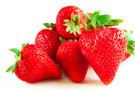 group of fresh strawberries, isolated on white background