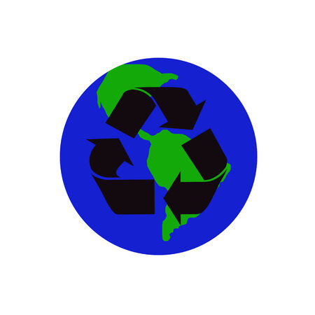 recycling sign in black on the globe Vector