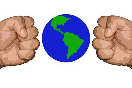 fist punching the globe