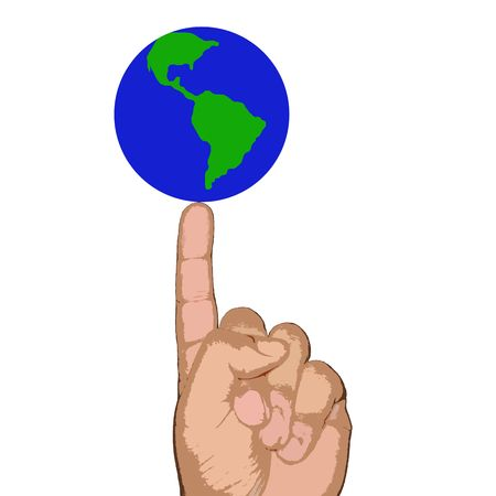 私の指の世界 写真素材