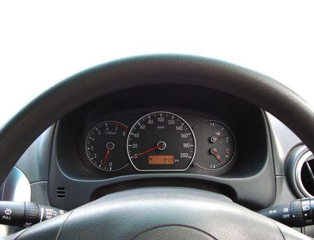 steers: steering wheel and speedometer gauge