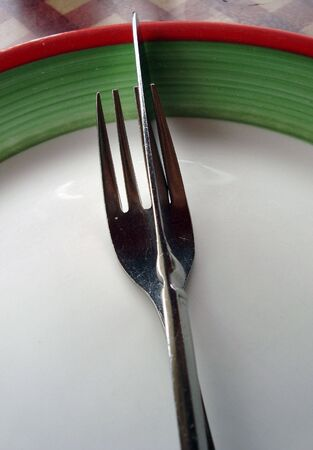 close-up of plate with knife and fork