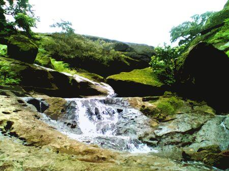 stream passing through the mountain Stock Photo