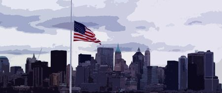 USA flag with New York skyline in the background Stock Photo