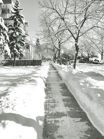 footpath during winter Stock Photo
