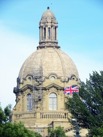 Alberta Legislature building dome with british flag Stock Photo